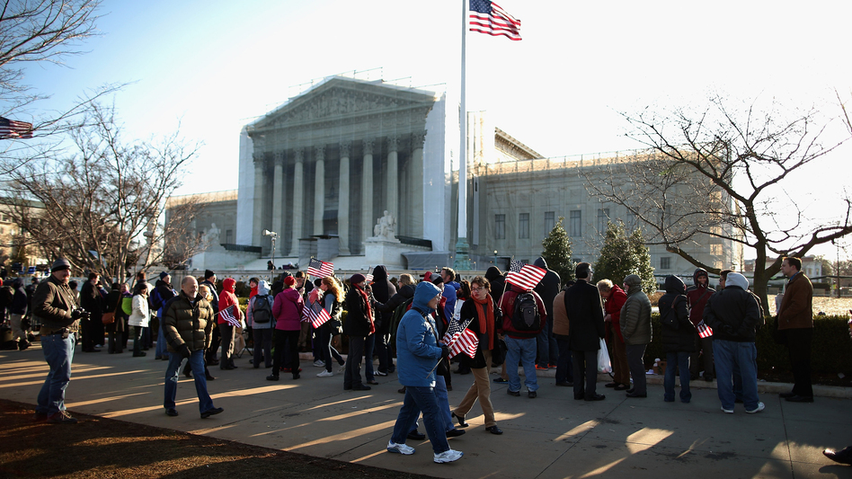 Hundreds of people line up outside the Supreme Court for a chance to hear oral arguments Wednesday in Washington, D.C. The Supreme Court is hearing arguments in the second case this week about same-sex marriage.