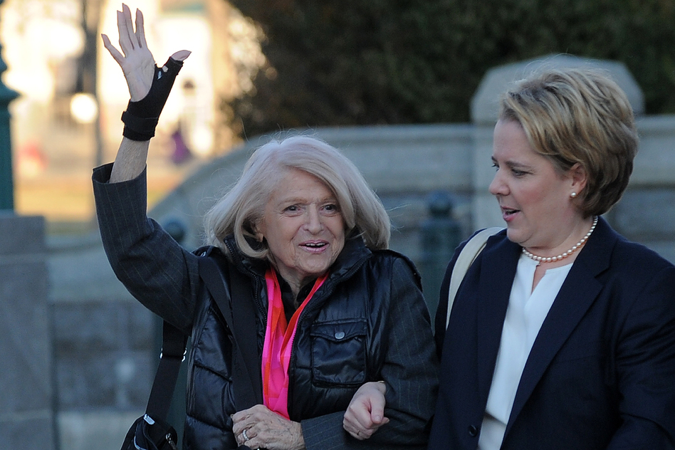Edie Windsor (left), who was ordered to pay federal inheritance tax of $363,000 after the death of her partner of more than 40 years in 2009 (United States v. Windsor), arrives with her lawyer Roberta Kaplan at the Supreme Court.
