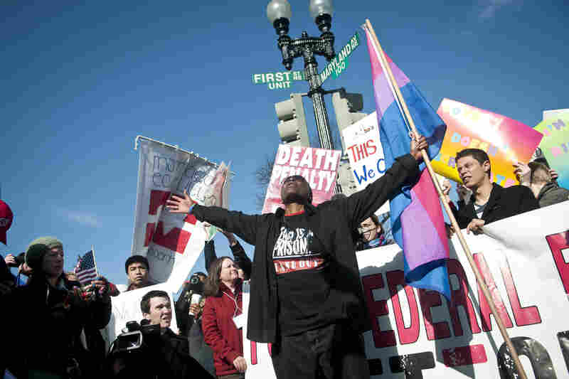 Cd Kirven from Dallas, Texas, shouts pro-gay marriage slogans outside the Supreme Court.