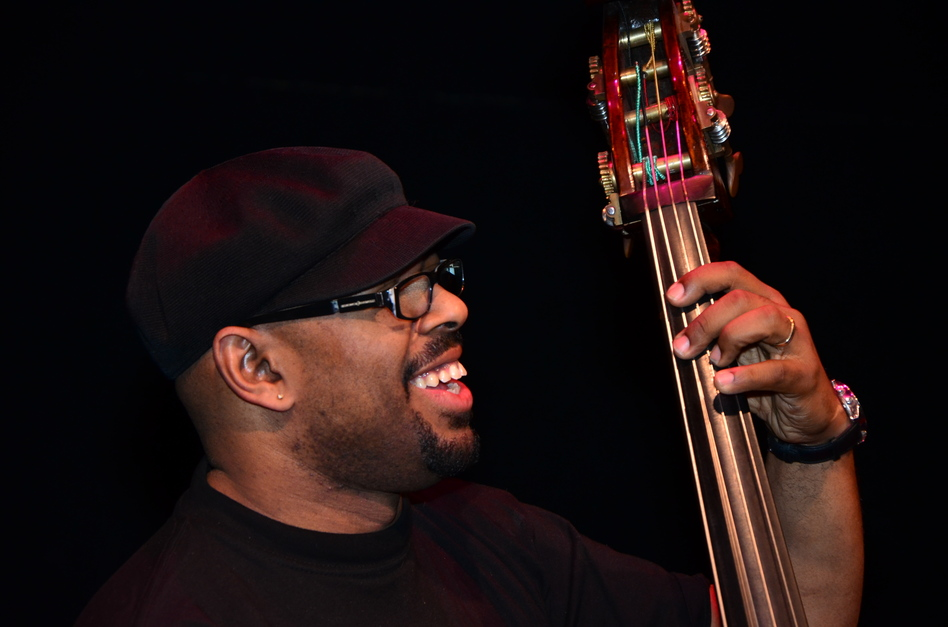 Bassist Christian McBride is the artistic director of the Monterey Jazz Festival on Tour. Here he is in a rehearsal for the Kennedy Center gig.  (Courtesy of the Kennedy Center)