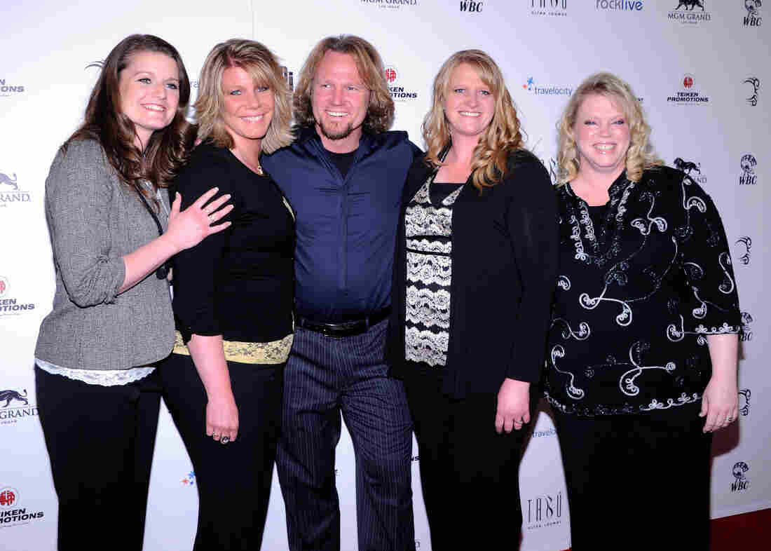 "Robyn Brown, Meri Brown, Kody Brown, Christine Brown and Janelle Brown from ""Sister Wives"" arrive at the grand opening of Mike Tyson's one-man show at the MGM Grand Hotel/Casino in Las Vegas, Nevada."