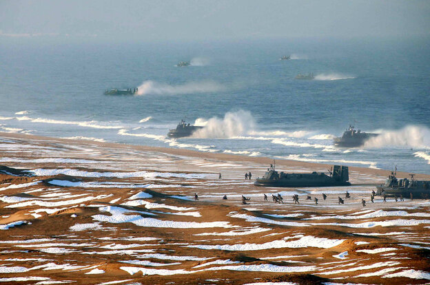 "An apparently doctored image issued by the North Korean government on Tuesday shows ""landing and anti-landing drills."""