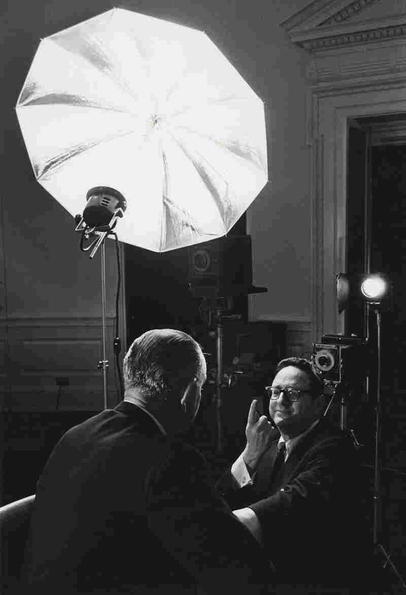 Arnold Newman poses President Lyndon B. Johnson at the White House in 1963.