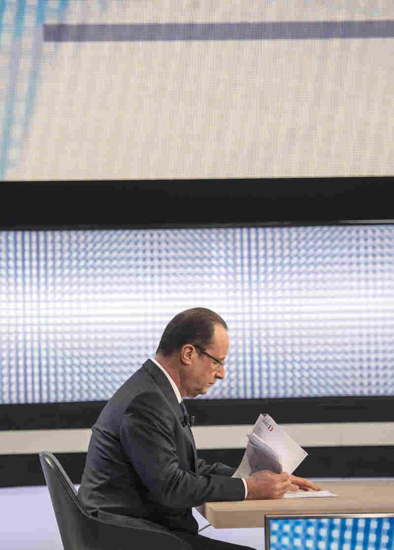 French President Francois Hollande takes part Thursday in an interview on French 2 TV in Paris.