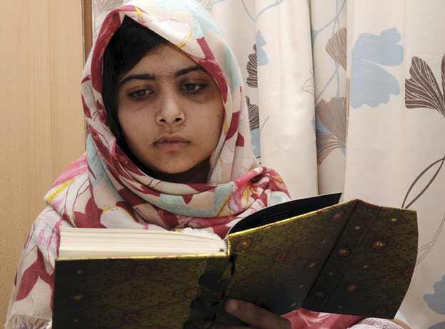 Pakistani teen Malala Yousafzai is pictured during her recovery at Queen Elizabeth Hospi