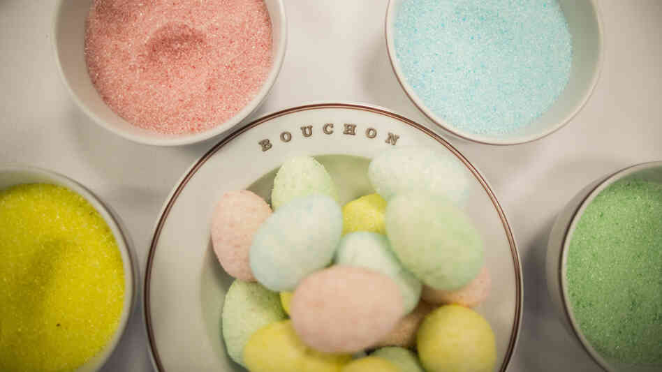 Marshmallow eggs made with homemade flavored sugar are a colorful treat at Thomas Keller's Bouchon Bakery in Beverly Hills, Calif. To make them, pipe homemade marshmallow into hollow plastic eggs (see recipe, below).