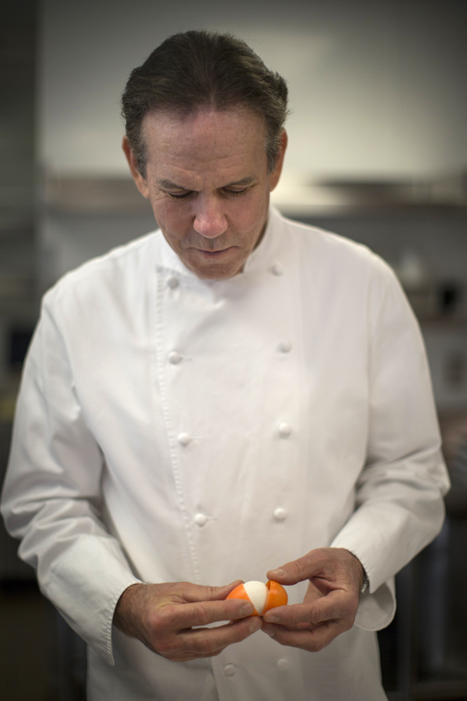 Thomas Keller demonstrates how to prepare and open his recipe for his marshmallow eggs at his Bouchon Bakery in Beverly Hills.