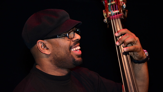 Christian McBride in rehearsal at the Kennedy Center. (Courtesy of the Kennedy Center.)