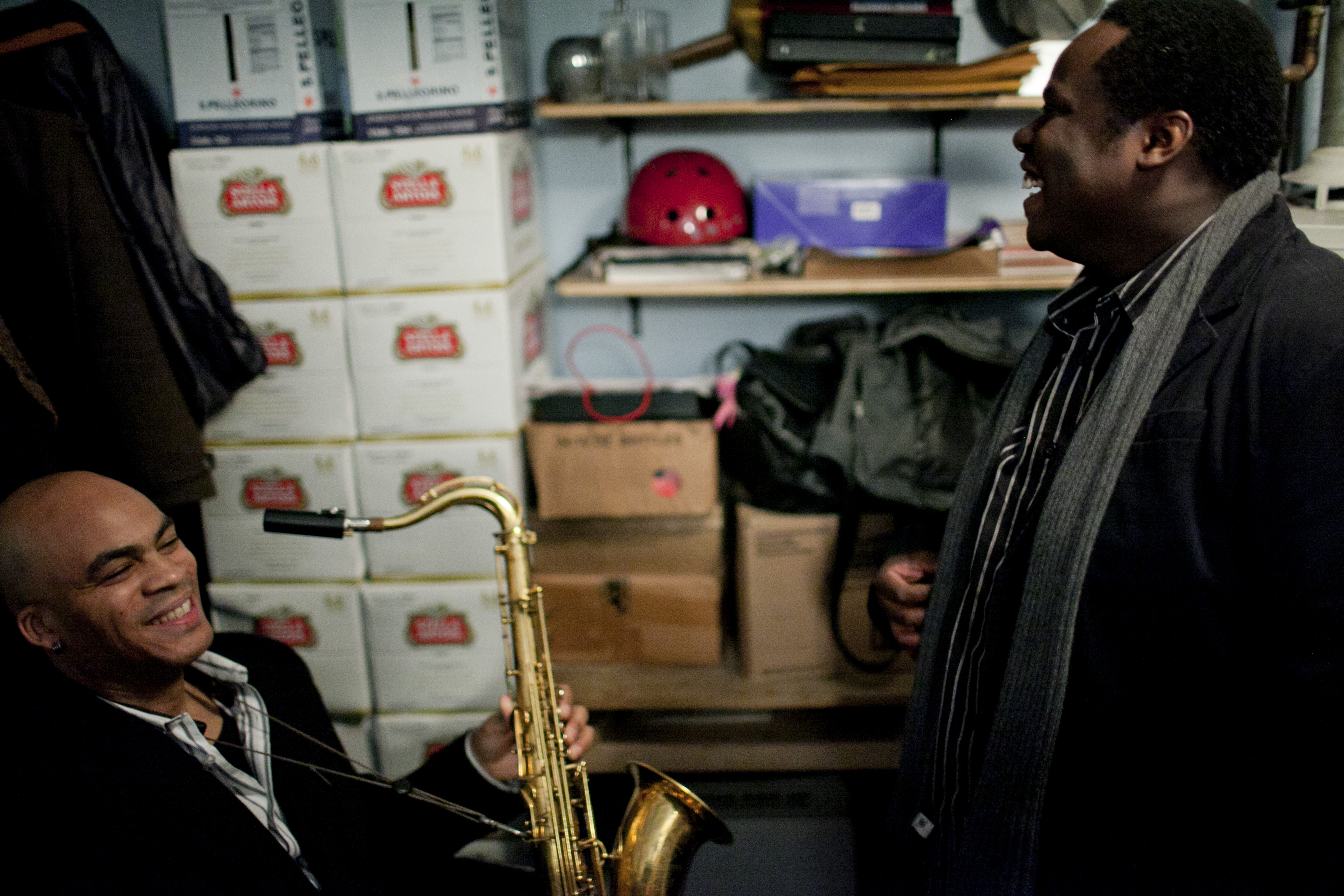 Wayne Escoffery and Johnathan Blake, backstage.