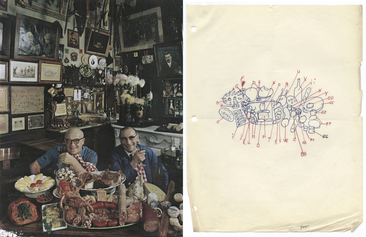 A tear sheet from Holiday magazine shows bistro owner Marius Guilhot and fishmonger Henri Castaing, 1961. Newman's sketch to the right maps out the table setting.