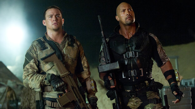 Duke (Channing Tatum) and Roadblock (Dwayne Johnson) are live-action G.I. Joes in the big-screen franchise's latest thoroughly disposable installment.