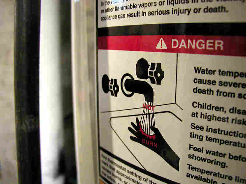 A warning label on a water heater.