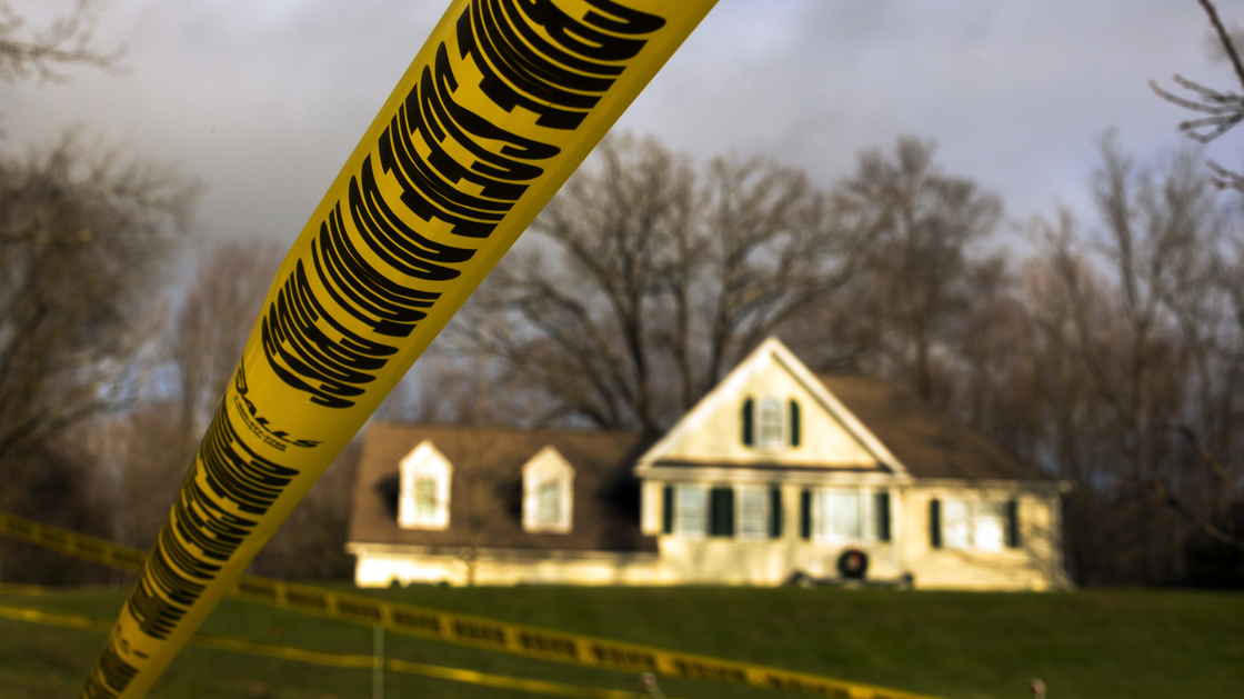 Dec. 18, 2012: Crime scene tape stretches across the property outside the home of Adam Lanza and his mother, Nancy Lanza. Inside, police found more weapons and other evidence.