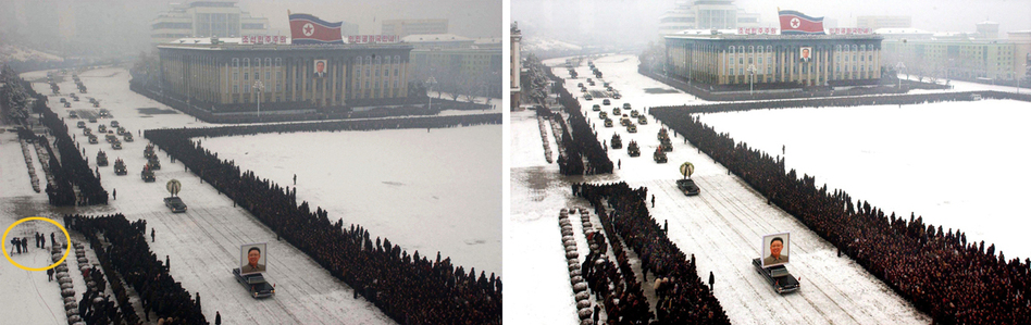 This image to the right, released by the North Korean Central News Agency (KCNA), was taken within seconds of the one to its left (released by Kyodo News). An analysis shows that the right-hand image was digitally altered, removing the cluster of men from the left edge and enhancing the perfect line of mourners. (KCNA/Kyodo News)