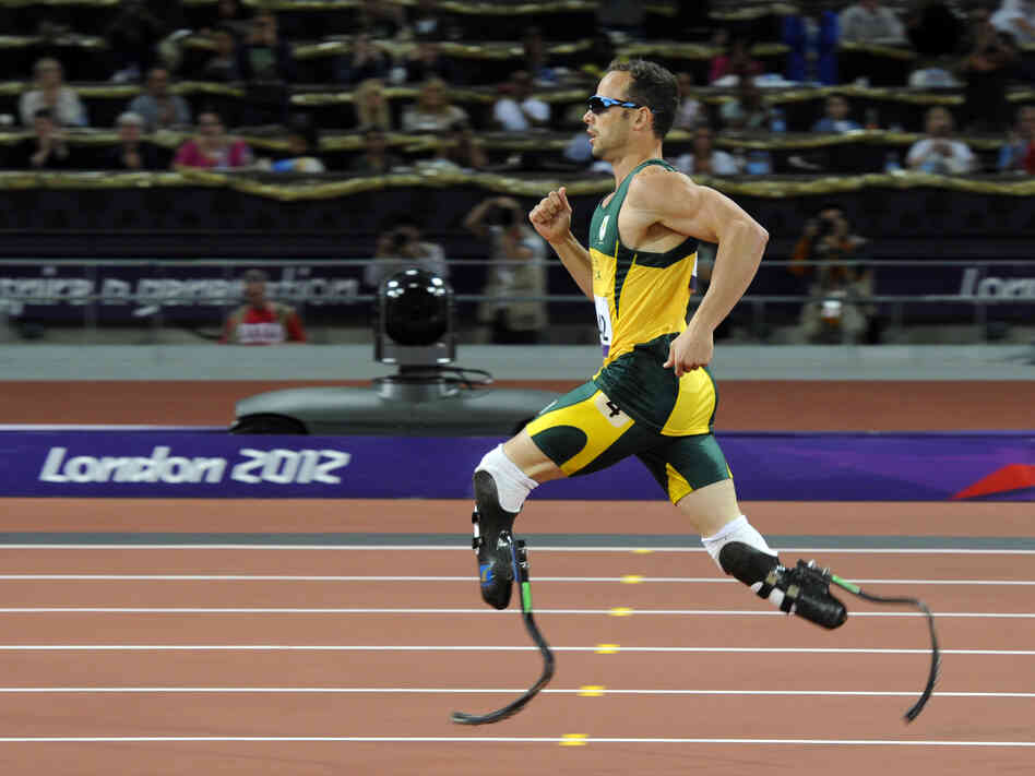 South Africa's Oscar Pistorius competing during the London