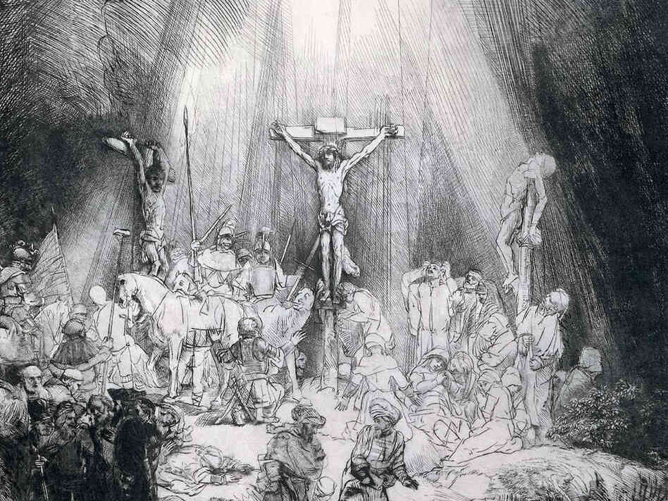 This 1653 engraving by Rembrandt inspired composer Frank Martin to write his oratorio Golgotha in 1945.