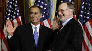 "House Speaker John Boehner, R-Ohio, left, performs a mock swearing in for Rep. Don Young, R-Alaska, on Jan. 3, as the 113th Congress began. On Friday, Boehner condemned Young, the second most senior Republican in the House, for using the term ""wetbacks,"" which Boehner called ""offensive and beneath the dignity of the office he holds."""