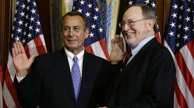 House Speaker John Boehner, R-Ohio, left, performs a mock swearing in for Rep. Don Young, R-Alaska, on Jan. 3, as the 113th Congress began. On Friday, Boehner condemned Young, the second most senior Republ