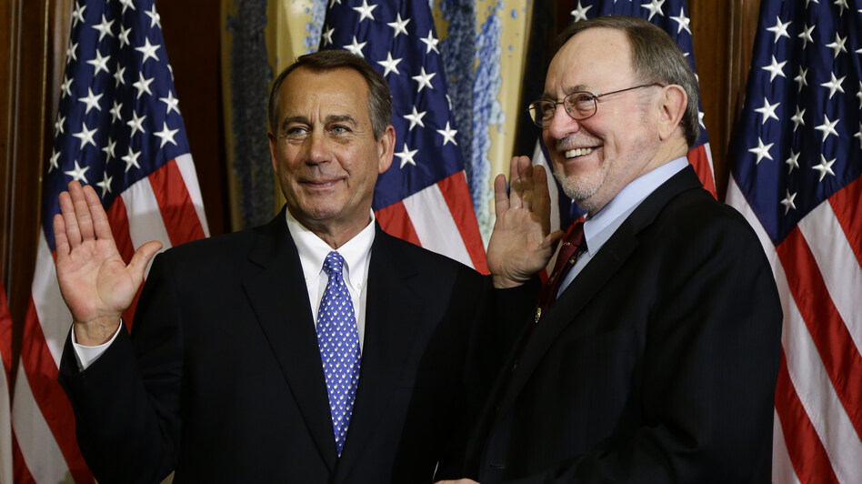 "House Speaker John Boehner, R-Ohio, left, performs a mock swearing in for Rep. Don Young, R-Alaska, on Jan. 3, as the 113th Congress began. On Friday, Boehner condemned Young, the second most senior Republican in the House, for using the term ""wetbacks,"" which Boehner called ""offensive and beneath the dignity of the office he holds."" (AP)"