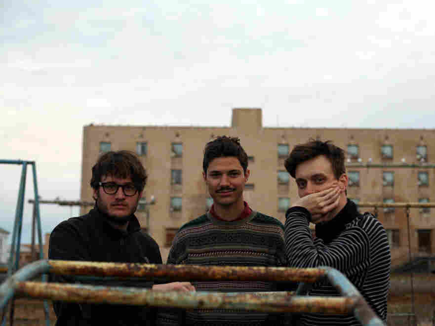 The members of Efterklang in Piramida: Mads Brauer (left), Rasmus Stolberg (center) and Casper Clausen.