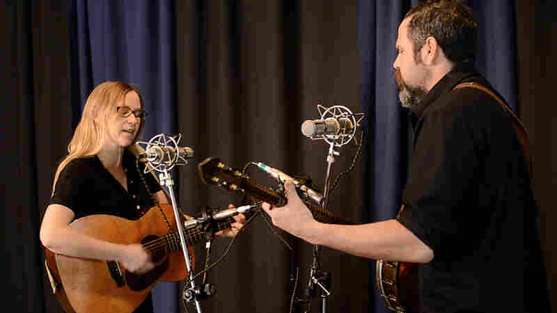 "Pharis (left) and Jason Romero perform ""Long Gone Out West Blues"" for Folk Alley."