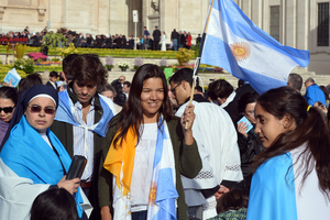 Argentinian flags waved for the pontiff; Pope Francis is from Buenos Aires, Argentina, the first pope from the Americas.