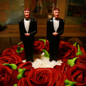 Same-sex wedding cake topper figurines at Cake and Art in 2008 in West Hollywood, Calif.