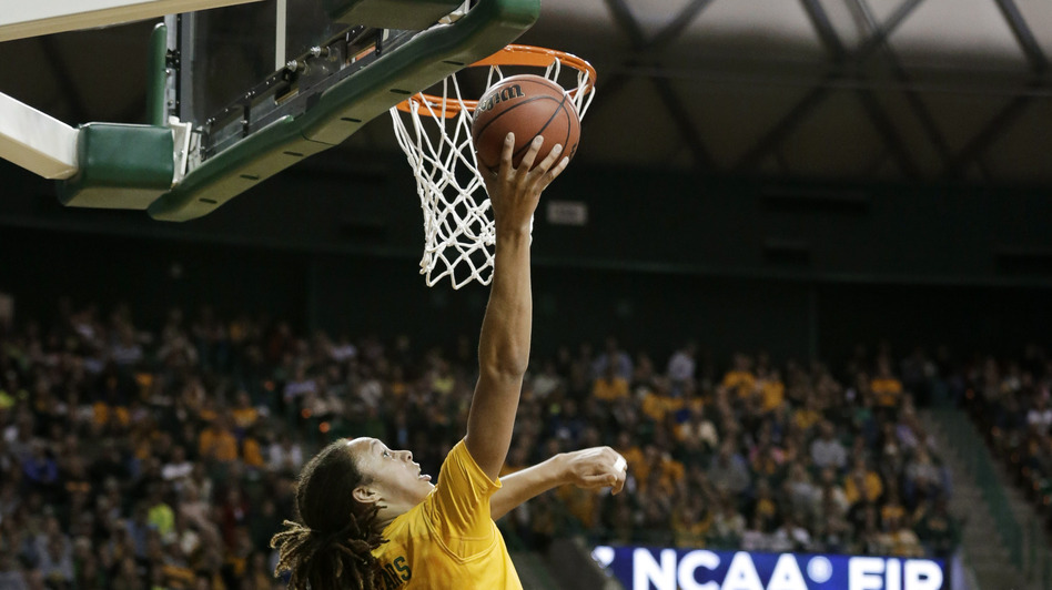 Baylor's Brittney Griner goes up to dunk in a second-round game of the NCAA women's college basketball tournament against Florida State on Tuesday in Waco, Texas. On Sunday, Baylor faces Louisville. (AP)