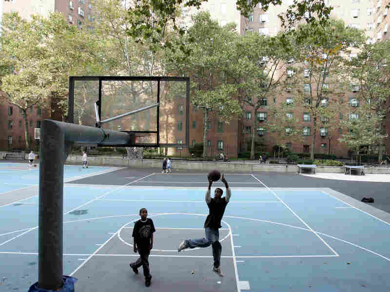 Stuyvesant Town is littered with basketball courts, playgrounds and jungle gyms.