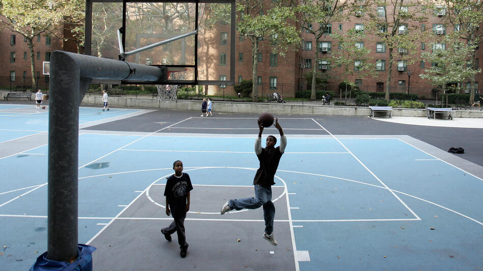 Stuyvesant Town is littered with basketball courts, playgrounds and jungle gyms. (AFP/Getty Images)