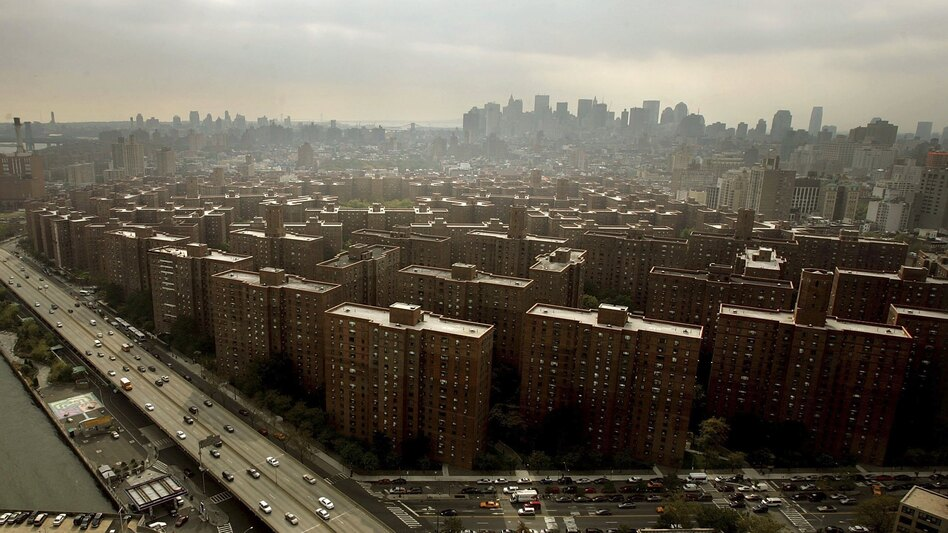 The Peter Cooper Village and Stuyvesant Town apartment complex is seen from Waterside Plaza in 2006, the same year it was sold in a record-breaking real estate deal. (Getty Images)
