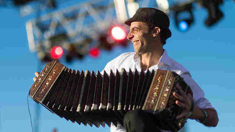 Martin Ferres of Bajofondo performs live at Auditorium Shores in Austin, Texas, during SXSW.