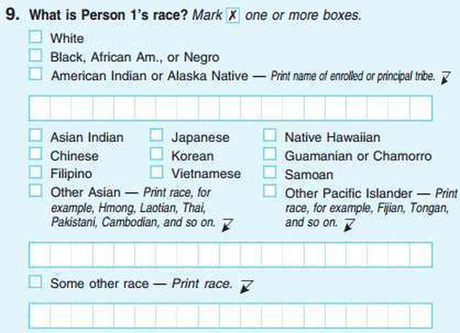 The U.S. Census has allowed respondents to select multiple races since 2000, as in this screen grab of the 2010 form.