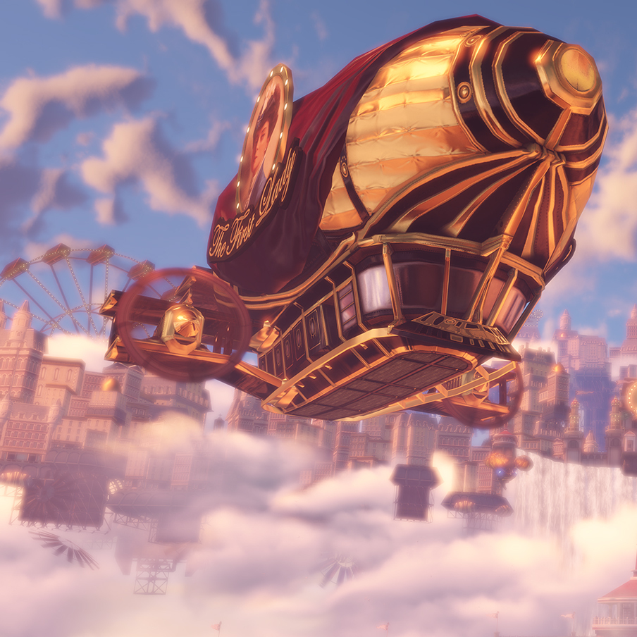 The BioShock Infinite setting revolves around a floating city.