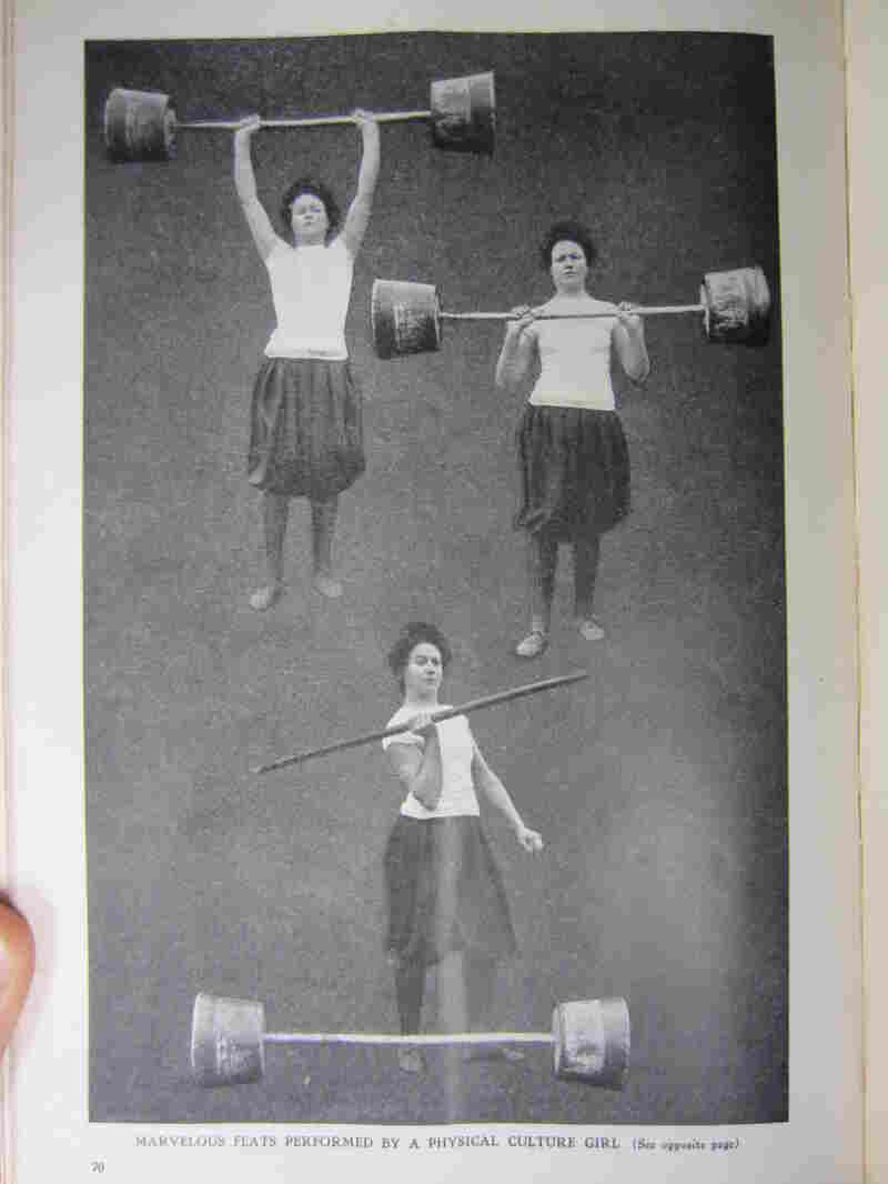 """""""Marvelous feats performed by physical culture girl"""" reads the caption on this photo of Mrs. Minnie T. Wells."""