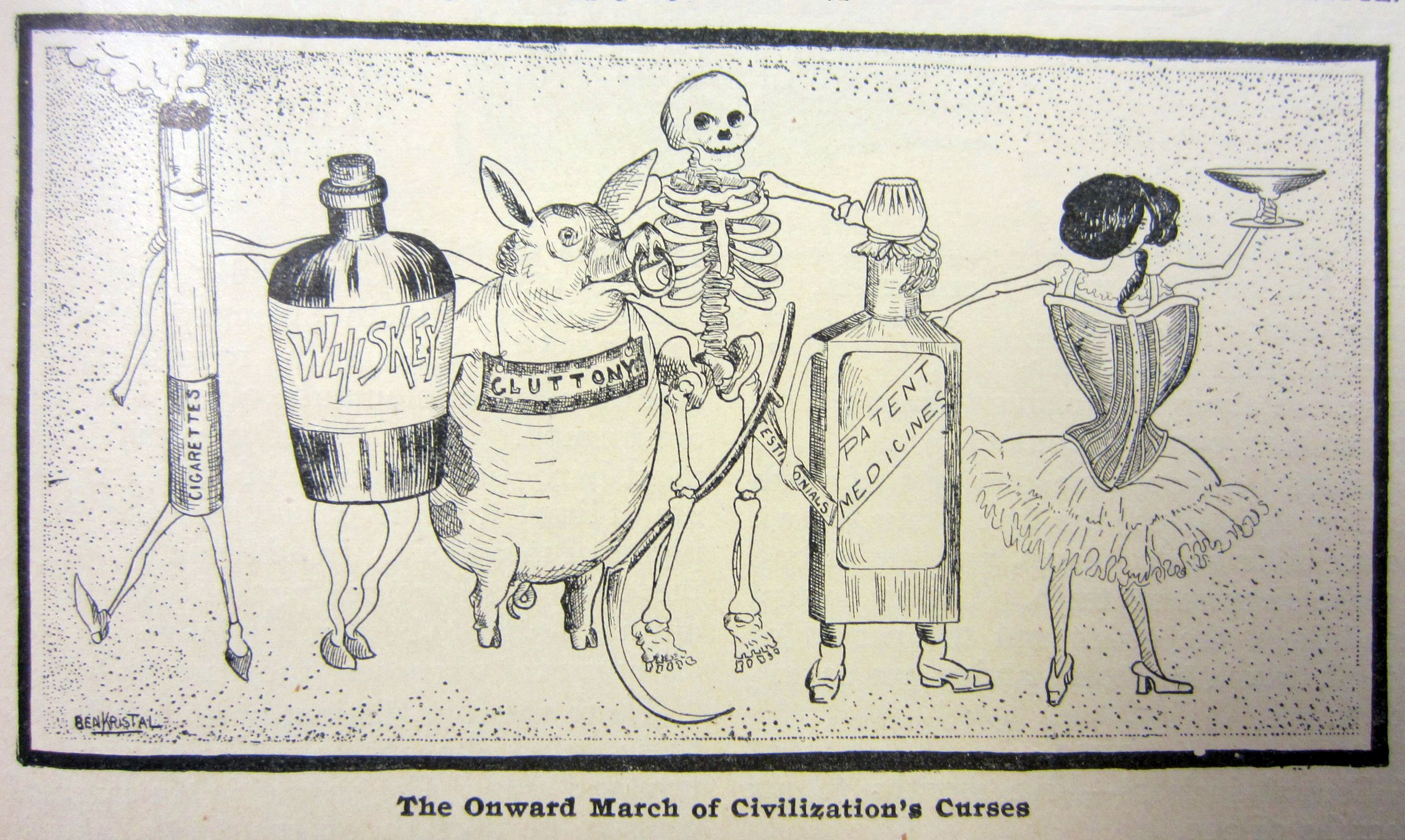 An editorial cartoon from the April 1905 edition of Physical Culture magazine denounced the trappings of modern civilization, including smoking, alcohol, overconsumption of food, patent medicines and ill-fitting clothing.