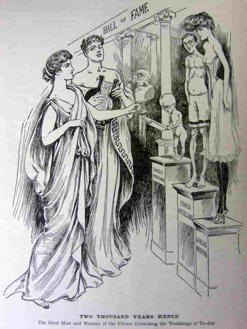 In another editorial cartoon from the September 1905 issue of Physical Culture, the ideal specimens of humanity judge the weak.