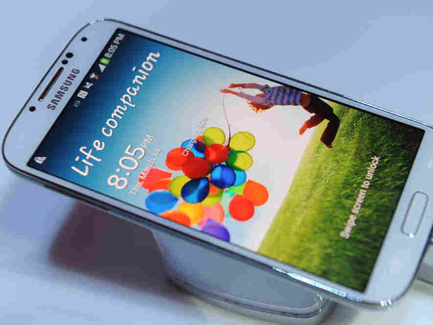 Samsung's new Galaxy S4 is seen during its unveiling on March 14, 2013.
