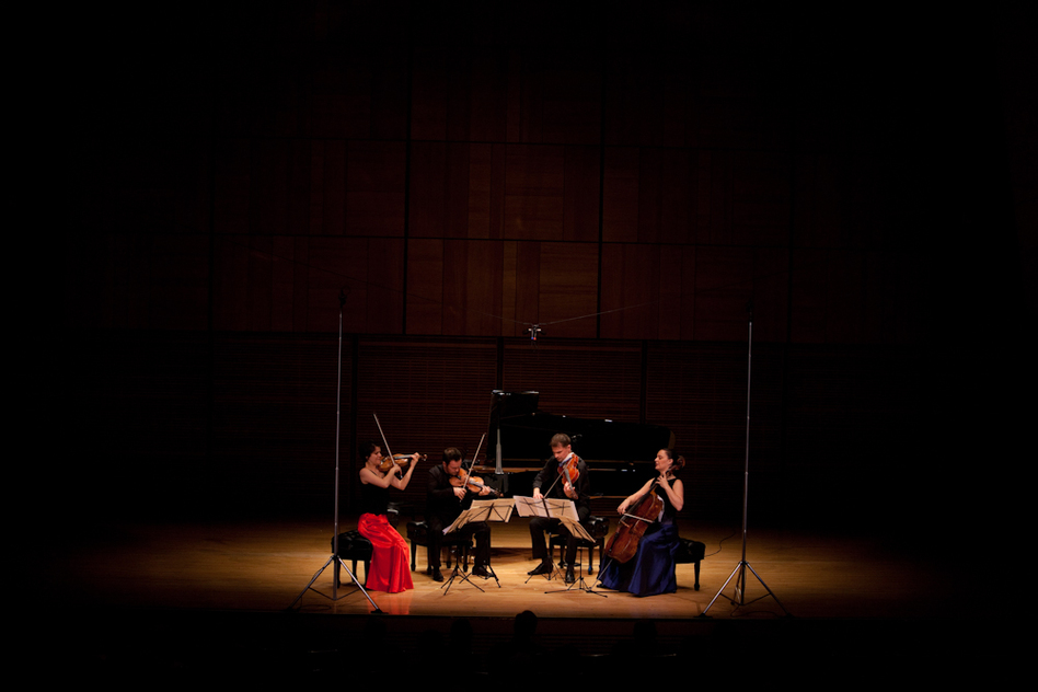 Alone on the Zankel Hall stage, the Elias String Quartet plays the dramatic String Quartet No. 2 by Leos Janacek. Written in the final year of the composer's life, the music is fueled by the passion he held for a woman 37 years his junior. (For NPR)