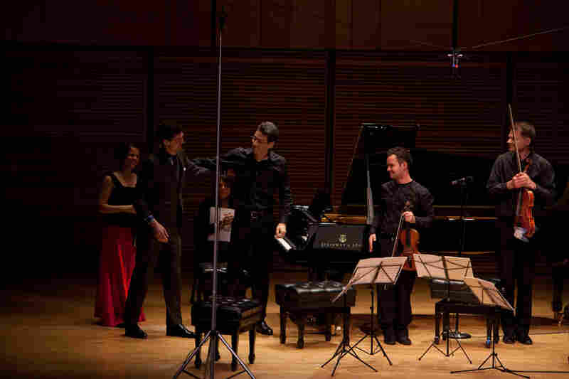 Composer Timothy Andres (second from left) is called on the Zankel Hall stage to accept applause after a performance of his new Piano Quintet, a joint commission from Carnegie Hall, San Francisco Performances, Wigmore Hall in London, and Amsterdam's Concertgebouw.