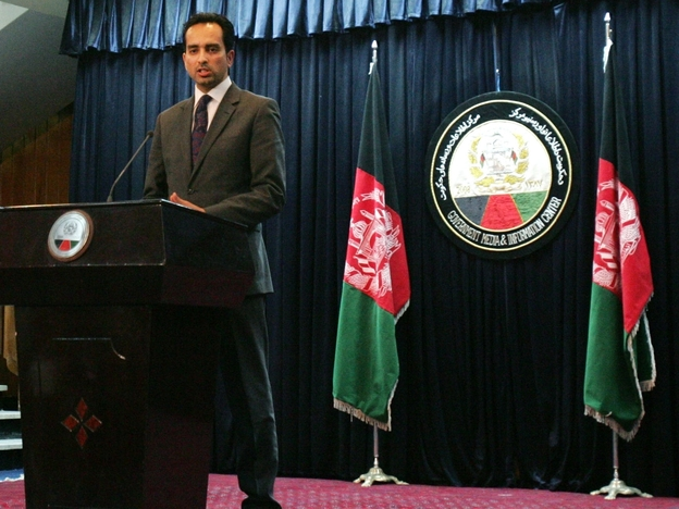 Afghanistan presidential spokesman Aimal Faizi speaks during a news conference in Kabul, Afghanistan, earlier this year.