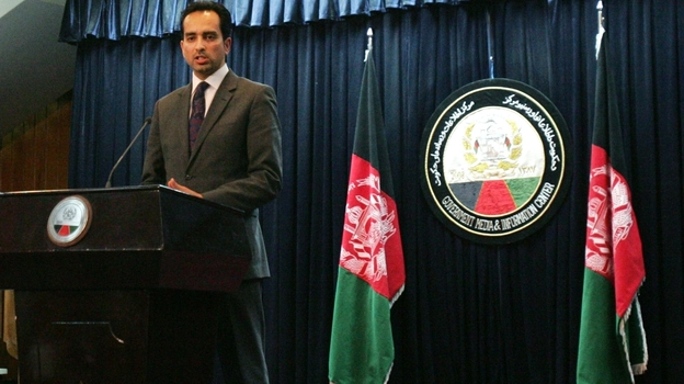Afghanistan presidential spokesman Aimal Faizi speaks during a news conference in Kabul, Afghanistan, earlier this year. (AP)