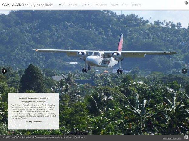 A screen grab of Samoa Air's website.