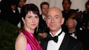 "Mackenzie Bezos and Jeff Bezos, founder and chief executive officer of Amazon.com attend the ""Schiaparelli And Prada: Impossible Conversations"" Costume Institute"