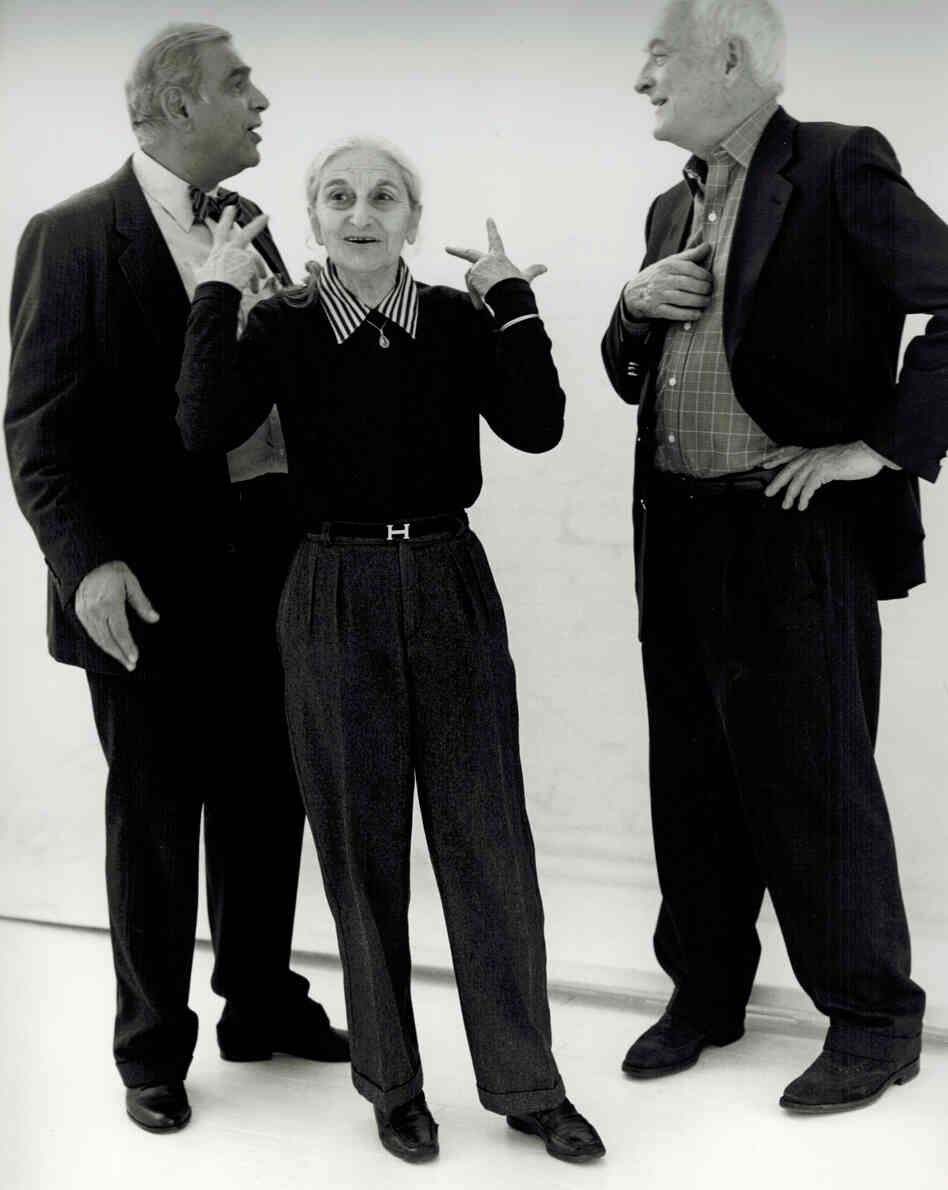 This undated publicity photo provided by Merchant Ivory Productions shows Oscar-winning screenwriter and award-winning novelist Ruth Prawer Jhabvala (center) with film director and producer Ismail Mer