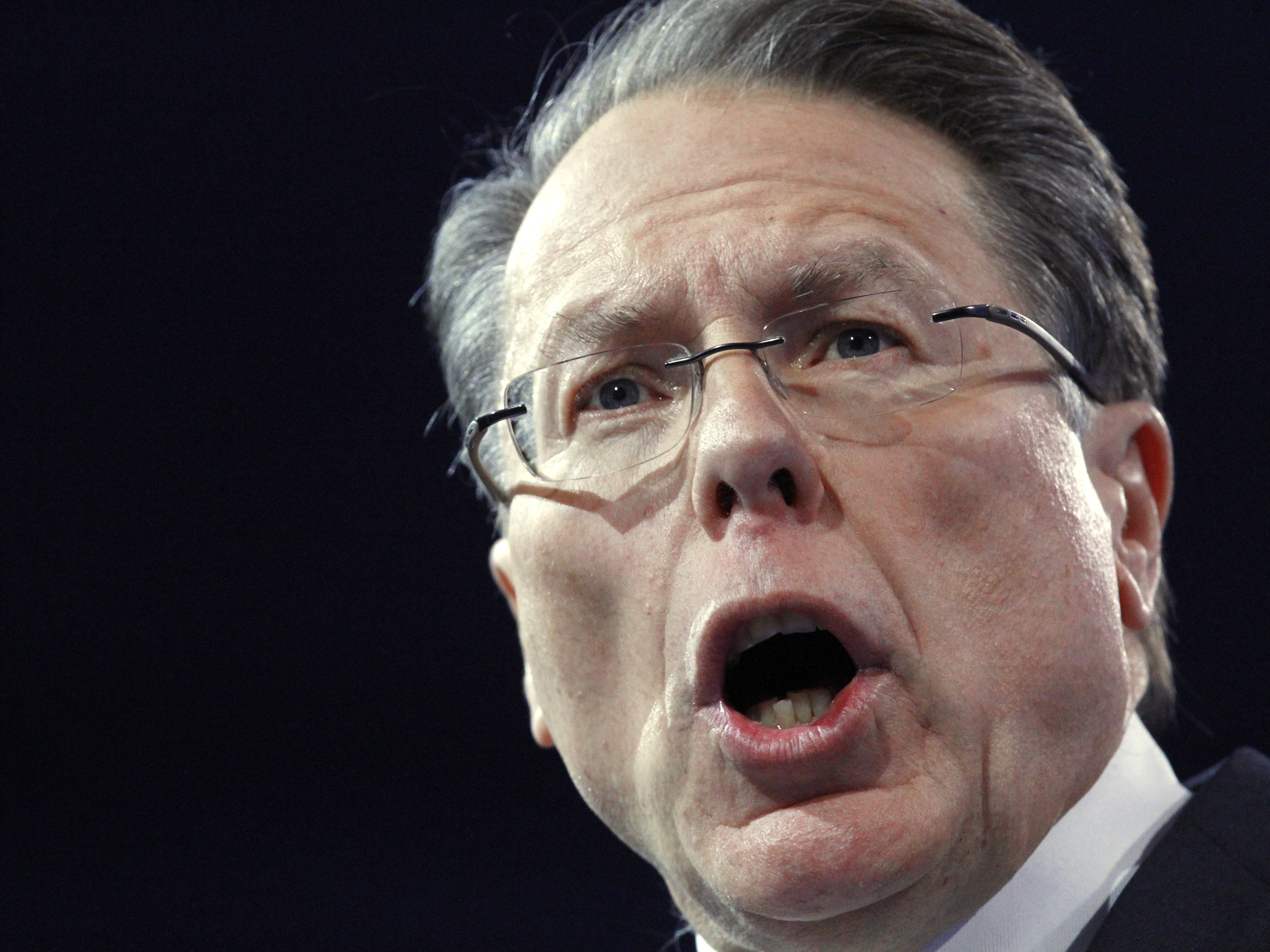 National Rifle Association CEO Wayne LaPierre speaks at the Conservative Political Action Conference in National Harbor, Md., on March 15. On Tuesday, the NRA issued its recommendations for protecting schools, which include arming personnel.