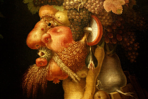 Detail of The Autumn, a painting of a man made of food by 16th century Italian painter Giuseppe Arcimboldo.
