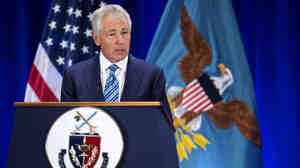 Defense Secretary Chuck Hagel speaks wednesday at the National Defense University at Fort McNair in Washington, D.C. He warned of deep budget cuts across his department, to put the brakes on spiraling costs and reshape the military for leaner budgets and new challenges.