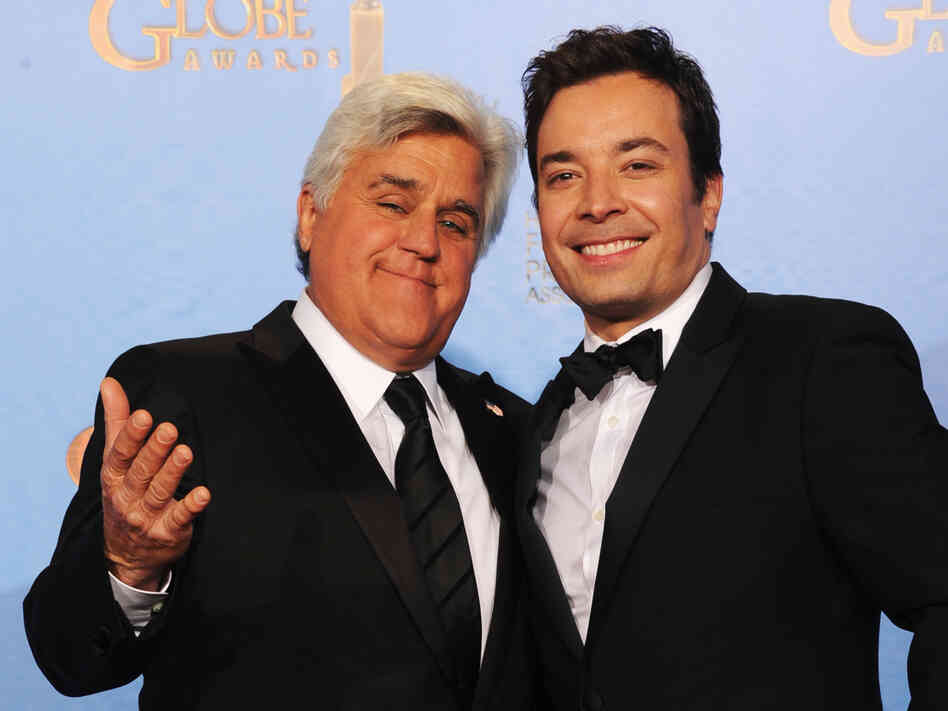 Jay Leno (left) and Jimmy Fallon at the Golden Globe Awards in January. Ne