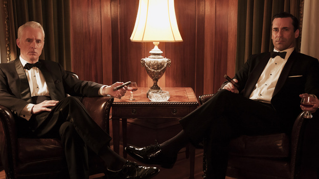 We won't give away any of the details about his personal life, but we can say that the two-hour season premiere of Mad Men shows Don Draper (Jon Hamm, right, with John Slattery's Roger Sterling) as his silver tongue fails him. (AMC)